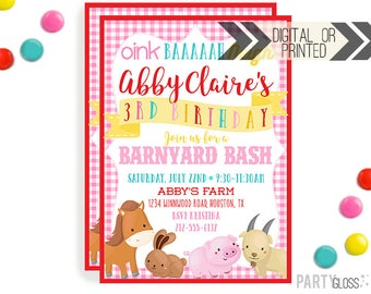 Petting Zoo Invitation | Digital or Printed | Barn Party | Farm Invitation | Barnyard Invitation | Petting Zoo Birthday Party | Farm Party