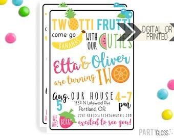 Twins TWOtti Frutti Invitation | Digital or Printed |  Boy Frutti Invitation | BG Twins Invitation | Twotti Fruity Invite | Boy Girl Twins