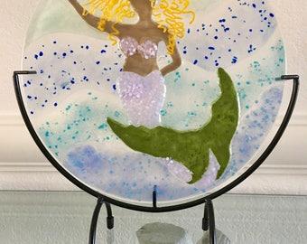 "Blonde Mermaid Fused Glass Art Panel ~ almost 10"" Round ~ Includes Metal Stand, Handmade, Ocean Sea Princess, Fantasy Underwater Scene"