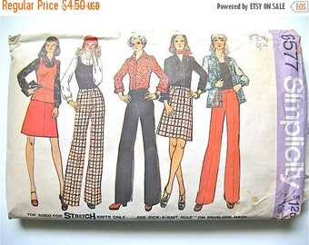 ON SALE Vintage Simplicity 6577  Separates sewing pattern Pants Skirt Top early 1970s   Bust 36 inches