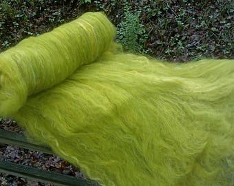 Baby Bud Green Batt--Hand Spinning Batt--Domestic Wool, Romney Locks, and Silk Sliver--Two Ounces--Plant Dyed