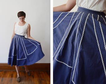 1950s Blue and White Rick Rack Circle Skirt - XS