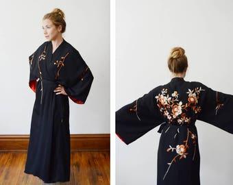Vintage Floral Embroidered Black Kimono - S/M