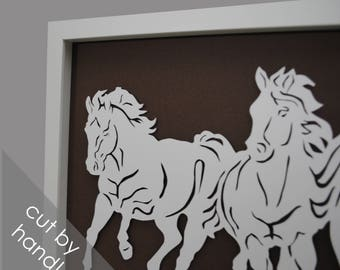 Horses - PAPER CUTTING - all white, depth, texture, Paper cut art, unique wall art, framed paper cut, white paper, layer, running hoses,farm