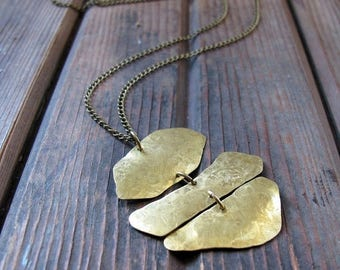 ON SALE Wander Curves - Long Brass Necklace - Artisan Tangleweeds Jewelry