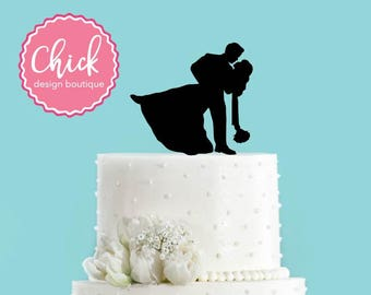 Groom Dipping Bride, Couple in Love Wedding Cake Topper