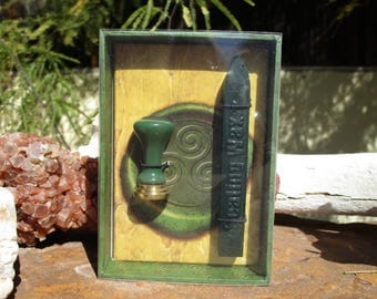 Triple Spiral Seal Stamp and Green Sealing Wax Kit~Ritual Spell Supply~Book of Shadows