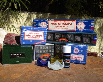 Nag Champa and Super Hit Gift Package~Incense and Soap Supply~Body Oil~Ritual~Altar~Beauty Supply