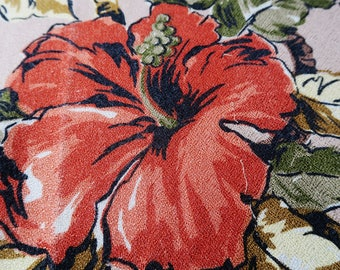 1950s TROPICAL fabric, large quantity for crafting, colourful retro print, mid century fabric, 1950s floral print,mid century