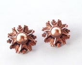 Ornate Vintage RENOIR Copper Earrings, Maltese Cross Clip Earrings, Renoir Earrings, Renoir Jewelry, Copper Jewelry