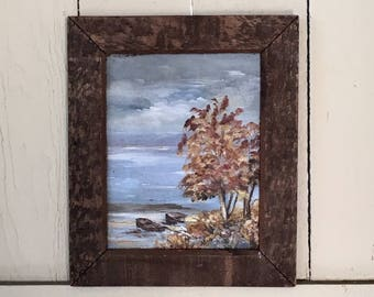 Rustic Landscape Painting - Autumn Tree & Cloudy Sky - Wooden Frame - Unsigned