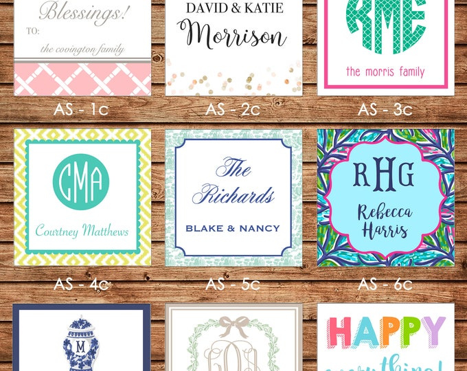 24 Printed All Occasion Square Gift Tags Enclosure Cards Stickers - Can personalize - Choose ONE design