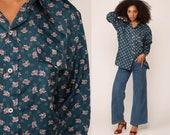 Floral Shirt Boho Shirt 70s Disco Shirt Button Up Blue Flower Print Bohemian Blouse 1970s Hippie Vintage Hipster Long Sleeve Extra Large xl