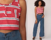Striped Crop Top 70s Tank Top Red White Blue Shirt 80s Shirt Retro Tee Vintage Sleeveless Small Medium