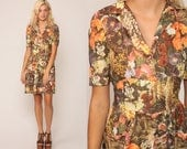 Hippie Mini Dress 70s Floral Print Psychedelic Print 1970s Mod Boho Vintage Puff Sleeve Minidress High Waist Hippy Bohemian Medium Large
