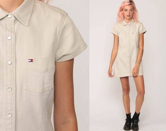 Tommy Hilfiger Dress 90s Mini Dress Grunge Khaki Streetwear Pearl Snap Vintage 1990s Button Up Short Sleeve Preppy Retro Small Medium