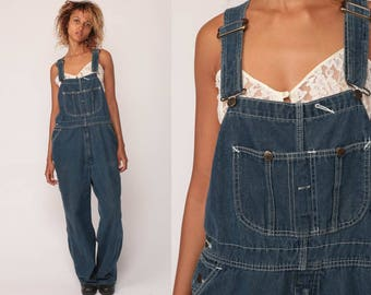 90s Overalls Pants Women Denim GRUNGE Pants Bib Jean Dungarees Wide Leg Baggy Coveralls Long 1990s Hipster Blue Carpenter Extra Large xl