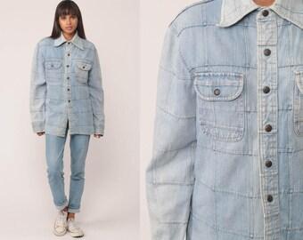 Denim Jacket 70s Jean Jacket Boho Blue Hippie Trucker Vintage Bohemian 1970s Hipster Patchwork Button Up Large