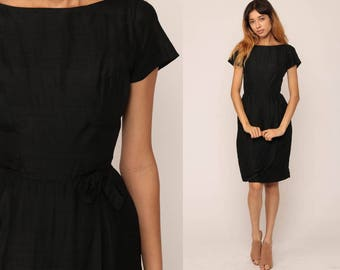 Black Party Dress 1960s Cocktail Mod LBD 60s Midi Vintage Glam High Waisted Evening Mad Men Short Sleeve Minidress Hourglass Extra Small xs
