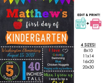 Orange editable printable First day of school poster | any grade DIY chalkboard Instant download sign Digital PDF 16x20 or 20x30 8x10