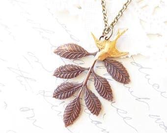 Copper Leaf Spray Sparrow Necklace - Copper Leaf Branch Necklace - Gold Sparrow Necklace - Woodland Leaf Necklace - Layering Necklace