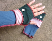 Textile Art Wristwarmer Gloves Handmade One of a Kind Upcycled