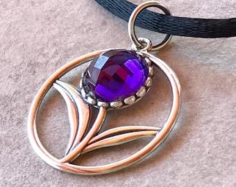 Amethyst Flower Pendant, Rose Cut Amethyst Pendant, Amethyst Necklace, Silver Flower Pendant, Black Satin Necklace, Purple Stone Pendant