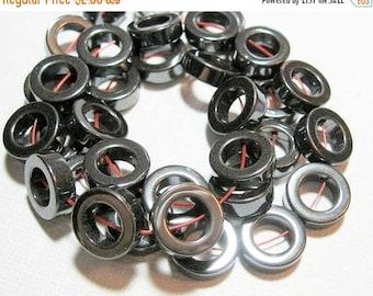 20% OFF LOOSE BEADS - Hematite Beads - 12mm Circle Frames (4 beads) - gem1010