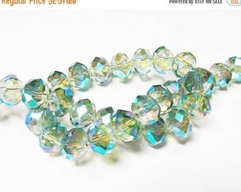 20% OFF LOOSE Glass Beads - Glass Crystal Beads - 8x10mm Faceted Rondelle - Light Olive Green with Blue and Purple Ab (8 beads) - gla10