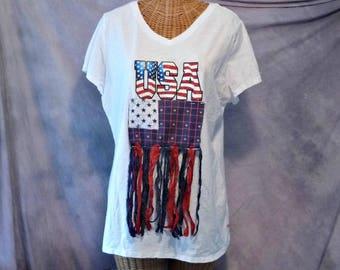 Boho USA Flag T Shirt Womens Size M, L, 1x V Neck Red White Blue Quilted Patchwork Art Wear Fringe Upcycled Sari Silk Fringe Homespun