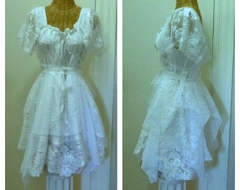 Fairy Dream Dress Handkerchief with Sleeves Lace Up Battenberg Crochet Lace Bridal White Women Wedding Corset Short, Bridal