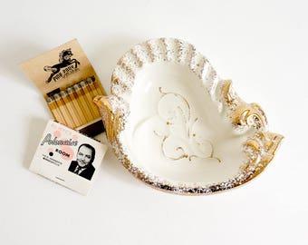 Vintage 1950s Ashtray / Gold Speckled Ceramic Ashtray VGC / Coin Trinket Jewelry Tray Retro Atomic Mid Century Home Decor
