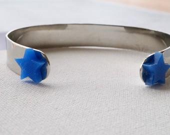 Silver Handcut Bracelet with Blue Stars