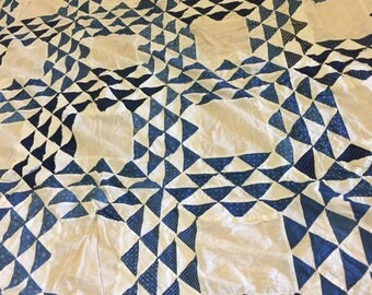 """BLUE & WHITE QUILT Topper, Cotton Quilt Topper, 64"""" X 71"""", Blue and White Flying Geese, 1950's Quilt, Needs TLc, at A Vintage Revolution"""
