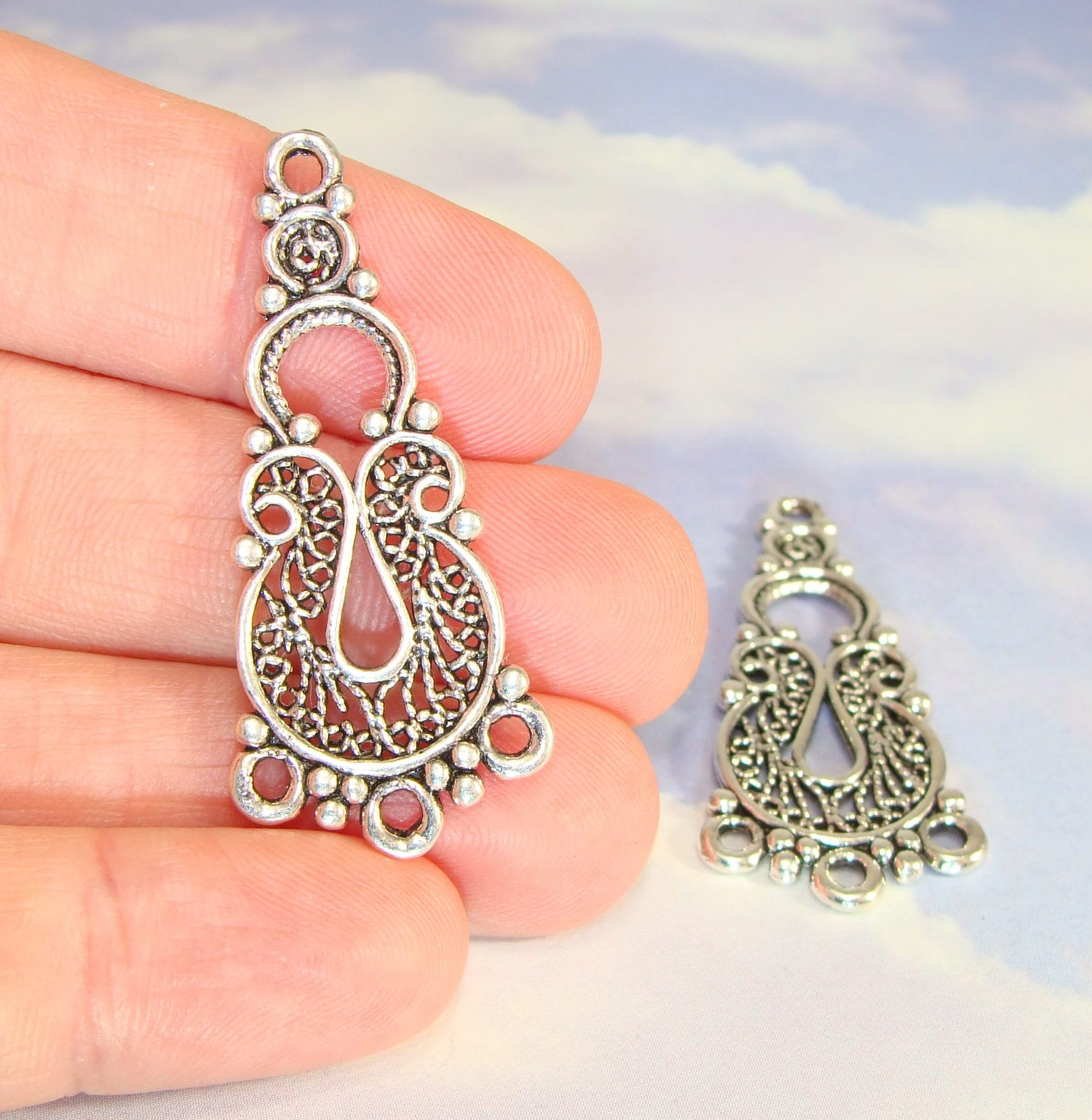 4 Chandelier Earring Parts Charms Findings Connector Components 2 ...