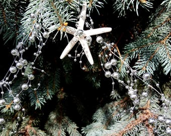 Beach Decor Christmas SILVER Starfish Garland - Nautical Decor White Starfish Beaded Garland in SILVER, 5FT