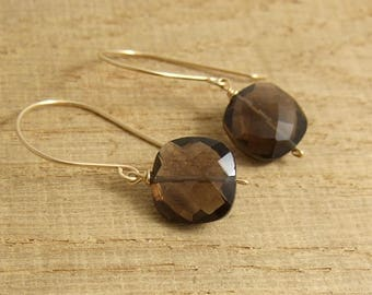 Earrings with Smokey Quartz Square Beads Wire Wrapped with Gold Filled Wire GHE-12