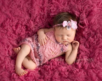 Valentine Dress Newborn Girl Hand Knit Mohair Lace Bib Photo Prop Baby Headband Set Going Home Outfit Shower Gift Coming Infant Tieback