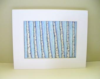 Aspen Tree Original Drawing Park City Utah White Bark Blue Sky Small Art