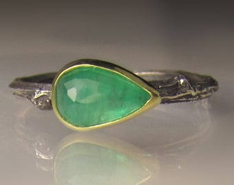 Emerald Ring, Rose Cut Emerald Twig Ring, Sterling Silver and 18k Gold