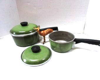 YOUR CHOICE Vintage Club Avocado Green 2 Quart Pan w/ Lid, 1 Quart Pan w/o lid, OR 7.5 inch lid, Retro, Completer Pieces, Pots Pans Clubb