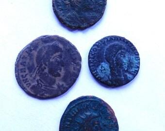 4 Authentic Ancient Roman Bronze Coins C. 300A.D.