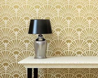 Deco Fans Allover Stencil - DIY Home Improvement - Better than Wallpaper
