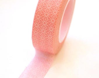 25% Off Summer Sale Washi Tape - 15mm - Pink and White Geometric Pattern - Deco Paper Tape No. 346
