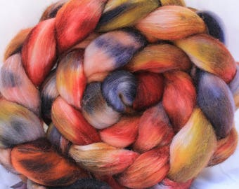 Hand painted Polworth silk 4.1 oz/117 grams #159