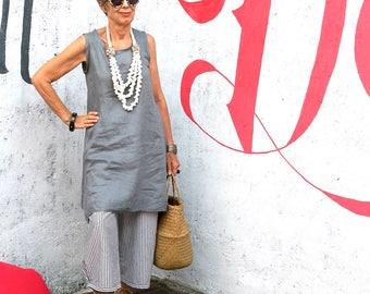 LINEN, Tunic, Loose, Sleeveless, Resort Wear, Bohemian, Island Style, Bali, Black, White, Gray, Natural, Wayan Tunic, Size 4-20