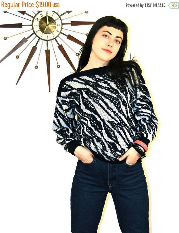 SALE 50% OFF Zebra Stripe Sweater Vintage 80s New Wave Black and White Striped Geometric Animal Print Long Sleeve Totally 1980s Knit Cropped