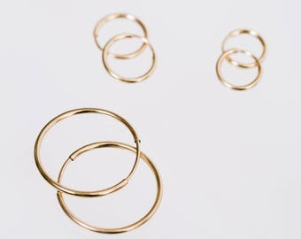 Gold fill hoop trio ~ set of 3 hoops ~ small medium large