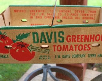Vintage Davis Greenhouse Tomatoes Cardboard Crate Tote  Terre Haute, Indiana 1966