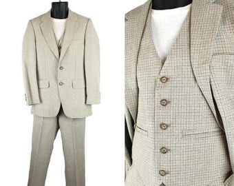 ON SALE Vintage 3 Piece Suit 34S 29x28 Blazer Vest Pants Gray Beige Wool Blend Plaid 70s Free Us Shipping
